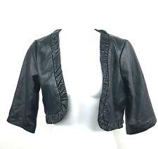 Bcbgeneration Genuine Leather Black Bolero Cropped Open Jacket Size L 3/4 sleeve