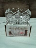 NIB Fifth Avenue 24% Lead Crystal Portico Sugar Tea Caddy Elegant Design