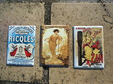 LOT 3 MAGNETS EMAILLES PUB S4 EMAIL VERITABLE 800°C NEUFS FABRICATION FRANCAISE