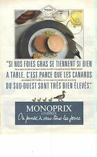 """PUBLICITE ADVERTISING 1989   MONOPRIX UNIPRIX  """"on pense à vous tous les jours"""""""