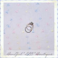 BonEful Fabric FQ Cotton Quilt White Pink Blue EYELET VTG Flower Girl Baby Dress