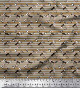Soimoi Brown Cotton Poplin Fabric Cookies,Glass & Heart Stripe Fabric-KAR