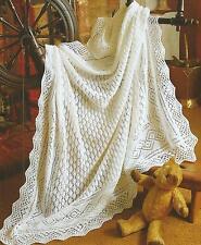 """Baby Shawl Knitting Pattern 3 ply 50"""" x 50""""     193"""