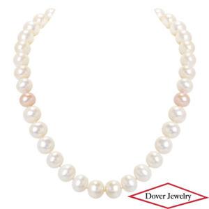 """Estate Pearl 14K Gold 18"""" Long Elegant Strand Necklace 97.6 Grams NR"""