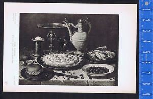 Still Life with a Cake and Roast Fowl - Clara Peeters- 1939 Rotogravure