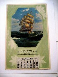 """1930 Advertising Calendar """"Gus Andrews Groceries"""" w/ Gorgeous Picture of Ship *"""