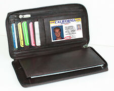 Brown Genuine Leather Card Checkbook Cover Zip Around Clutch Wallet Men Lady