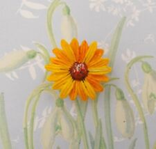 Yellow SUNFLOWER BROOCH Floral Wedding Daisy Memorial Flower Pin HAND PAINTED