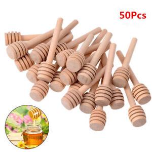 50Pcs Honey Wood Dipper Drizzler 8/10/10.5/15/16cm Mini Large Stirring Rod AS