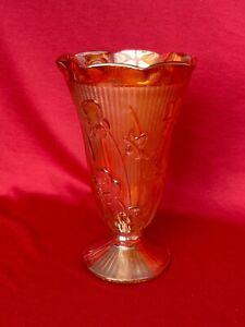 "Vintage 9"" Depression Glass Gold/Orange Vase ""Iris & Herringbone"" 1940's"