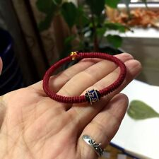 Six Words Mantra Prayer 925 Silver Blue Parachute Buddha Lanyard Bead Bracelet
