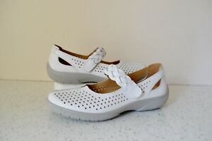 """HOTTER """"QUAKE"""" WHITE LEATHER/LEATHER LINED MARY JANE SHOES UK 4.5 STD RRP £69.00"""