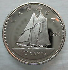 1982 CANADA 10 CENTS PROOF DIME HEAVY CAMEO COIN