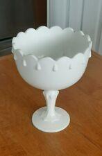 "Milk Glass Cottage Flower Pot Pedistal Candy Dish Teardrop 7.5"" Tall White Vtg."