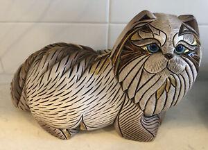 RARE Artesania Rinconada De Rosa BLUE Eyed CAT Figurine Pottery