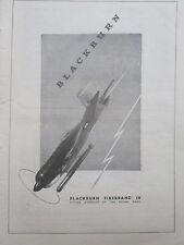 9/1946 PUB BLACKBURN FIREBRAND IV STRIKE AIRCRAFT ROYAL NAVY TORPEDO ORIGINAL AD