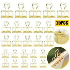 25pcs Gold Wire Binder Clips Paper Metal Clamp For Home Office School Work Sml