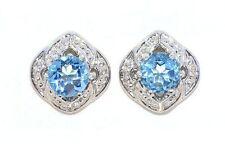 4mm Blue Topaz Round Shape Stud Earrings White Gold Silver