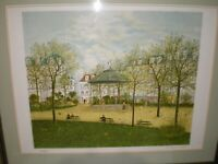 """Listed French Artist Maurice Ghiglion Green Signed L/E Print Park Scene 21.5""""x18"""