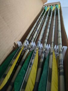 "12 Easton XX75 Camo Hunter 2216 Arrows 29"" Factory Fletched w/ 5"" Vanes no Tips"