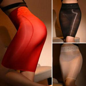 Sexy Women Sheer Shiny Bodycon Short Dress See Through Lace Waistband Mini Skirt