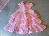 Mud Pie Baby Easter Girls Smocked Seersucker Bunny Dress Spring Pink White 9-12M