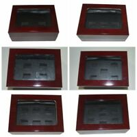 2/3/4/5/6/7 Holes Wooden Glass Display Box for NBA NFL Cup Championship Ring