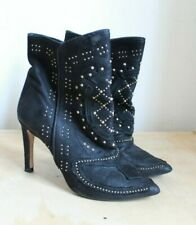 ZARA High Heel Black Leather Studded  Booties Boots Size 38 US 8.5