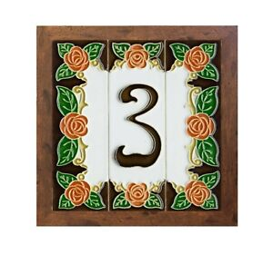 Italian 10cm x 3.4 cm Handmade Orange Rose Ceramic House Number Tiles and Frames