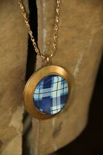 Lenora Dame~Plaid Locket Pendant Necklace Chain~Anthropologie~SOLD OUT ONLINE