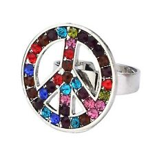 Funky Crystal Glass Multi-Coloured Peace Sign Adjustable Fashio Ring - Boxed New