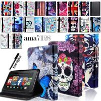 "FOLIO LEATHER STAND CASE COVER- For Amazon Kindle Fire 7"" HD 8"" HD 10"" +Pen"