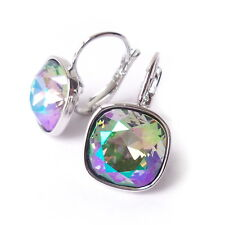 Paradise Shine Cushion Cut Rainbow Crystal Drop Earrings w/ Swarovski 4470mm
