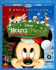 Disney Mickey's Once Upon A Christmas & Twice Sequel Blu-ray & DVD w/ Slipcover