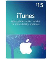 iTunes Gift Card $15 USD Key - 15 Dollar US Apple Store Code Digital - US