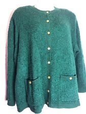"""Blair Boutique 3XL 3X 54""""-58"""" Bust Green Long Sleeved Button Cardigan PM32"""