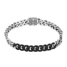 JOHN HARDY Classic Chain Gourmette Silver Lava Bracelet w/ Black Sapphire Size S