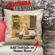 Personalised Vespa Scooter Vintage Cushion Custom Canvas Gift NC198