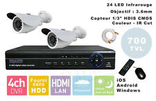 KIT COMPLET 2 CAMERAS VIDEOSURVEILLANCE + ENREGISTREUR DVR Windows iOS Android