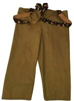 Mens VTG OD GREEN WATERPROOF PANTS w/ CAMO SUSPENDERS! Sz: XXXL