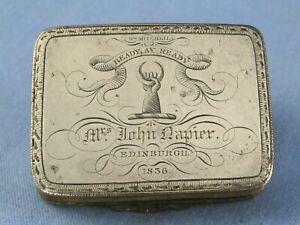 1836 ARMORIAL JOHN NAPIER MERCHISTON MITCHELL AGATE SILVER ANTIQUE SNUFF BOX