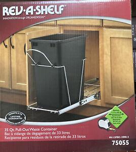Rev-A-Shelf RV-12KD-18C S Single 35-Qt Kitchen Cabinet Pullout Waste Container