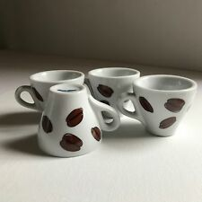 """4 - Vintage Casa Elite Cappuccino Cups with Coffee Bean Decorations 2.5"""""""