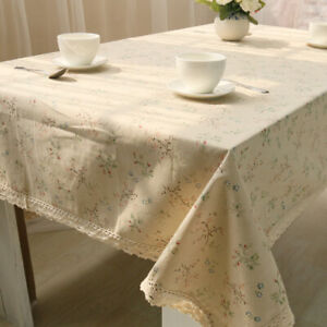 Home Floral Tablecloth Lace Rectangular Table Cover Cotton Linen Dining Decor