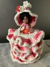Vintage Handmade Crochet Toilet Tissue Display Doll Holder Pink&White