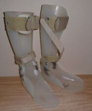 VTG White Plastic & Metal Orthopedic Polio Type Lower Leg  Brace x2
