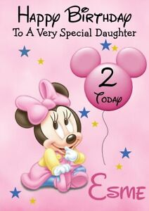 Personalised Mini Mouse Birthday card 1st 2nd Daughter Son Grandson Grandaughter