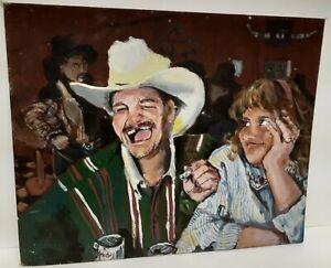 Vintage Southwest Western Original Folk Art Painting Signed Acrylic (?) Cowboy