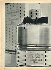 C- Publicité Advertising 1957 Eau de Cologne Fraiche de Christian Dior parfum