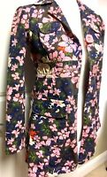 Tara Jarmon for Target Womens Coat Jacket 100% Cotton Floral Pink Blue XS